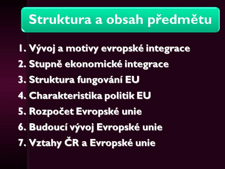 Struktura a obsah předmětu 1. Vývoj a motivy evropské integrace 2. Stupně ekonomické integrace 3. Struktura fungování EU 4. Charakteristika politik EU