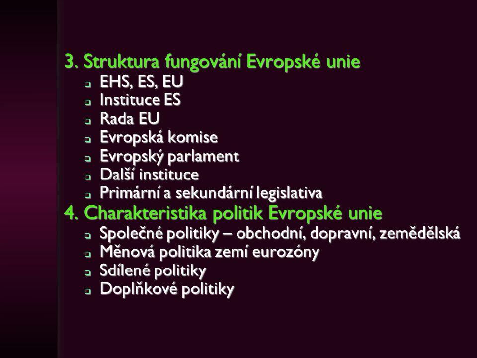 3. Struktura fungování Evropské unie  EHS, ES, EU  Instituce ES  Rada EU  Evropská komise  Evropský parlament  Další instituce  Primární a seku