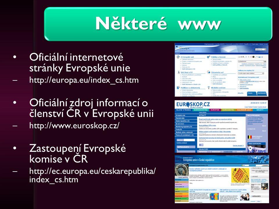 Některé www (2.) Evropská centrální banka –www.ecb.int –http://www.ecb.int/home/html/lingua.cs.html Portál o EU –http://www.euractiv.cz/ Oficiální portál pro podnikání a export –http://www.businessinfo.cz/cz/rubrika/evropska-unie/1000442/ Rozcestník užitečných odkazů Evropské unie –http://www.evropskaunie123.cz/ Fakta o EU –http://www.finance.cz/evropska-unie/ Eurion (zde Odkazy na stránky s tématikou evropské integrace) –http://www.eurion.cz/kontakty/odkazy-na-stranky-s-tematikou-evropske- integrace/