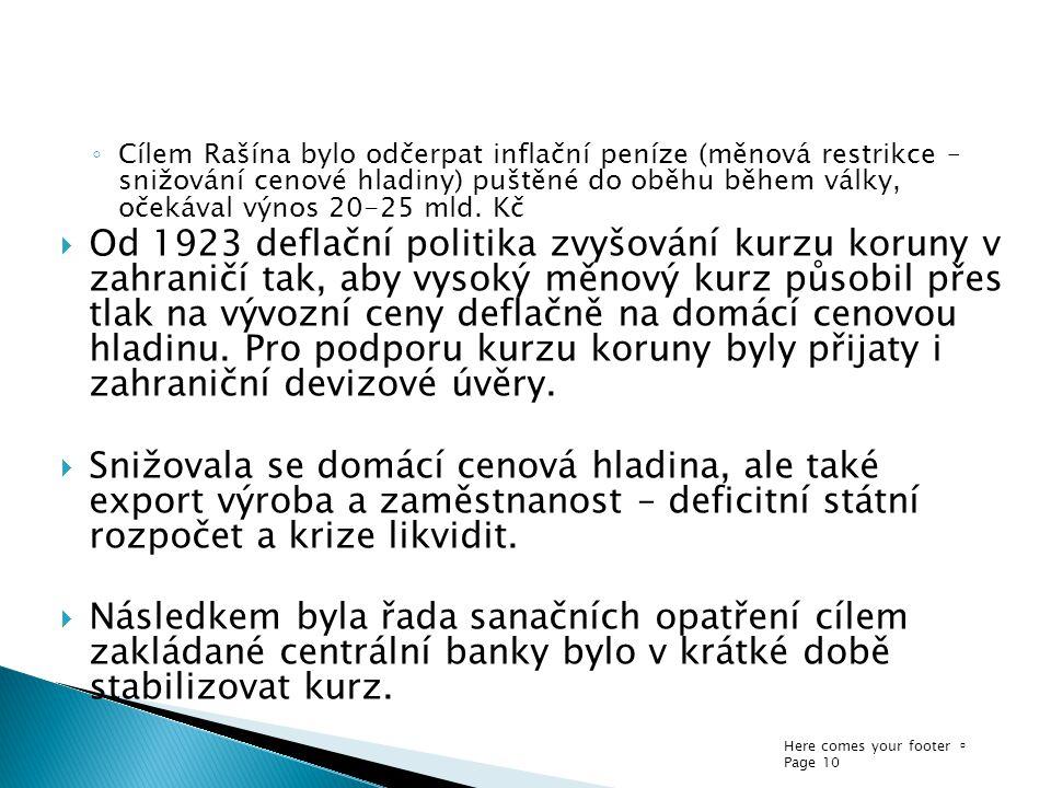 Here comes your footer  Page 10 ◦ Cílem Rašína bylo odčerpat inflační peníze (měnová restrikce – snižování cenové hladiny) puštěné do oběhu během vál