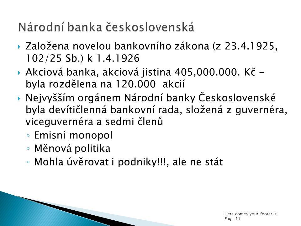 Here comes your footer  Page 11  Založena novelou bankovního zákona (z 23.4.1925, 102/25 Sb.) k 1.4.1926  Akciová banka, akciová jistina 405,000.000.