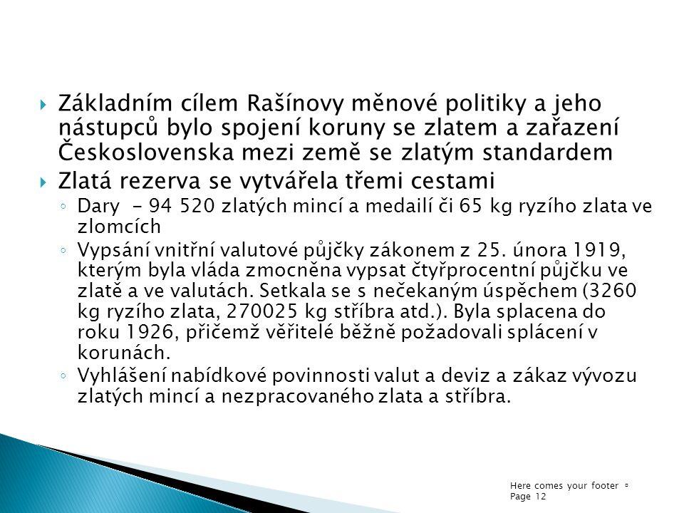 Here comes your footer  Page 12  Základním cílem Rašínovy měnové politiky a jeho nástupců bylo spojení koruny se zlatem a zařazení Československa me