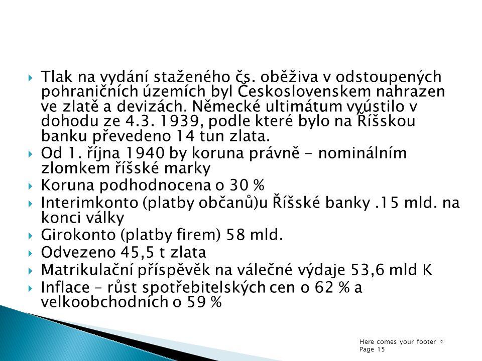 Here comes your footer  Page 15  Tlak na vydání staženého čs. oběživa v odstoupených pohraničních územích byl Československem nahrazen ve zlatě a de
