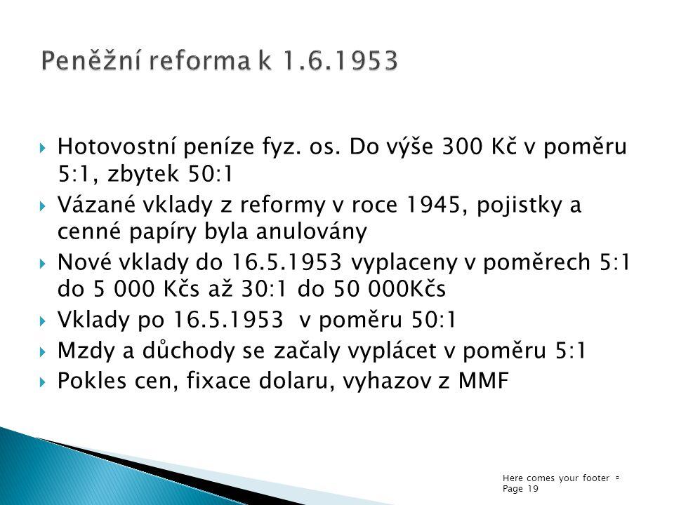 Here comes your footer  Page 19  Hotovostní peníze fyz. os. Do výše 300 Kč v poměru 5:1, zbytek 50:1  Vázané vklady z reformy v roce 1945, pojistky
