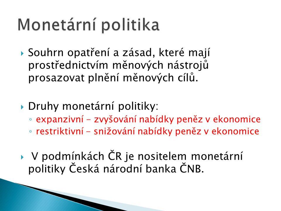  Souhrn opatření a zásad, které mají prostřednictvím měnových nástrojů prosazovat plnění měnových cílů.  Druhy monetární politiky: ◦ expanzivní - zv