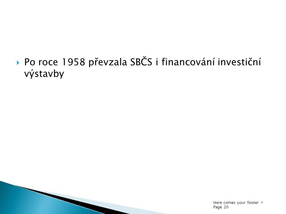 Here comes your footer  Page 20  Po roce 1958 převzala SBČS i financování investiční výstavby