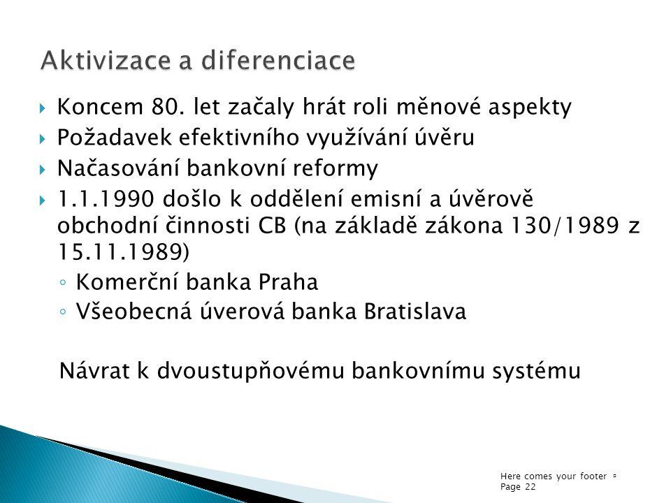 Here comes your footer  Page 22  Koncem 80. let začaly hrát roli měnové aspekty  Požadavek efektivního využívání úvěru  Načasování bankovní reform