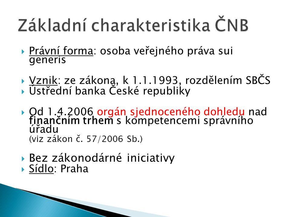  Právní forma: osoba veřejného práva sui generis  Vznik: ze zákona, k 1.1.1993, rozdělením SBČS  Ústřední banka České republiky  Od 1.4.2006 orgán
