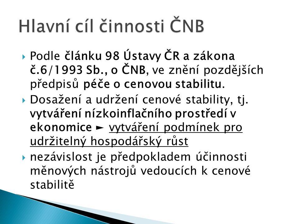  Podle článku 98 Ústavy ČR a zákona č.6/1993 Sb., o ČNB, ve znění pozdějších předpisů péče o cenovou stabilitu.  Dosažení a udržení cenové stability