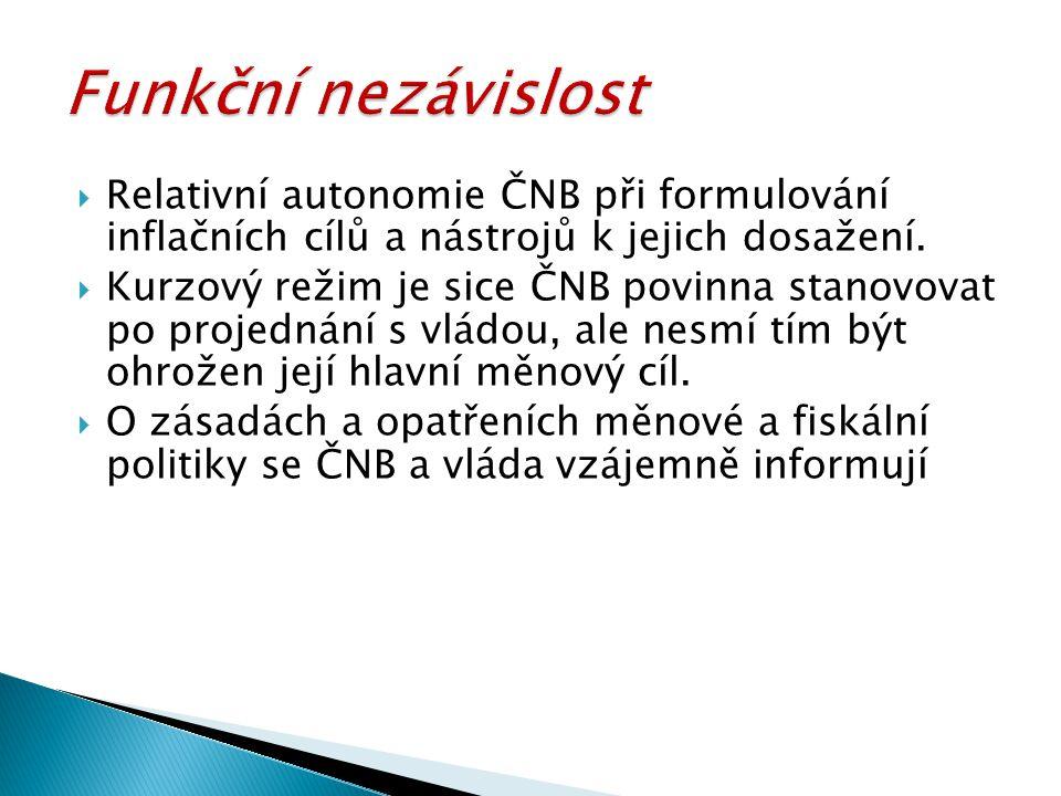  Relativní autonomie ČNB při formulování inflačních cílů a nástrojů k jejich dosažení.  Kurzový režim je sice ČNB povinna stanovovat po projednání s