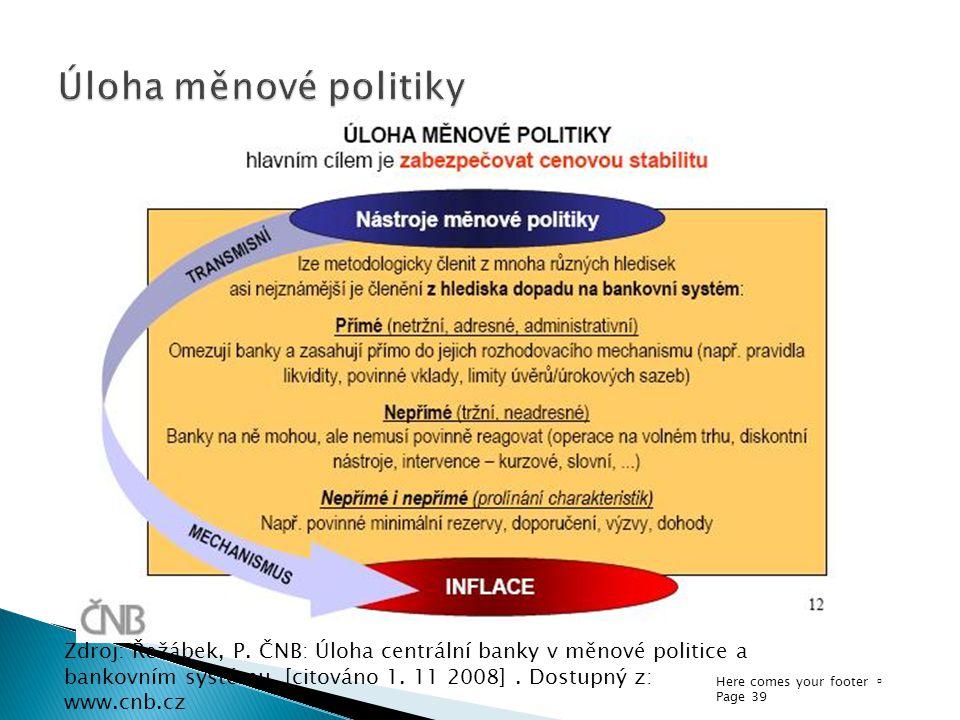 Here comes your footer  Page 39 Zdroj: Řežábek, P. ČNB: Úloha centrální banky v měnové politice a bankovním systému. [citováno 1. 11 2008]. Dostupný