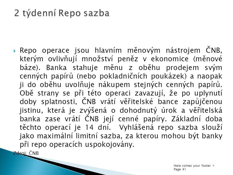 Here comes your footer  Page 41  Repo operace jsou hlavním měnovým nástrojem ČNB, kterým ovlivňují množství peněz v ekonomice (měnové báze). Banka s