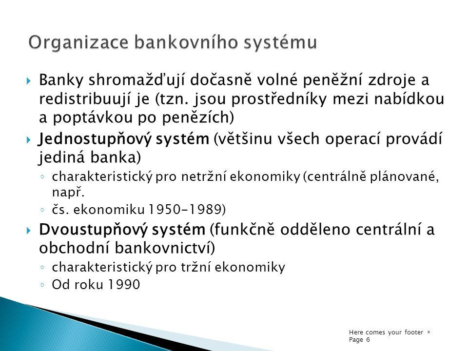 Here comes your footer  Page 6  Banky shromažďují dočasně volné peněžní zdroje a redistribuují je (tzn.