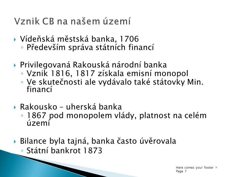 Here comes your footer  Page 7  Vídeňská městská banka, 1706 ◦ Především správa státních financí  Privilegovaná Rakouská národní banka ◦ Vznik 1816, 1817 získala emisní monopol ◦ Ve skutečnosti ale vydávalo také státovky Min.