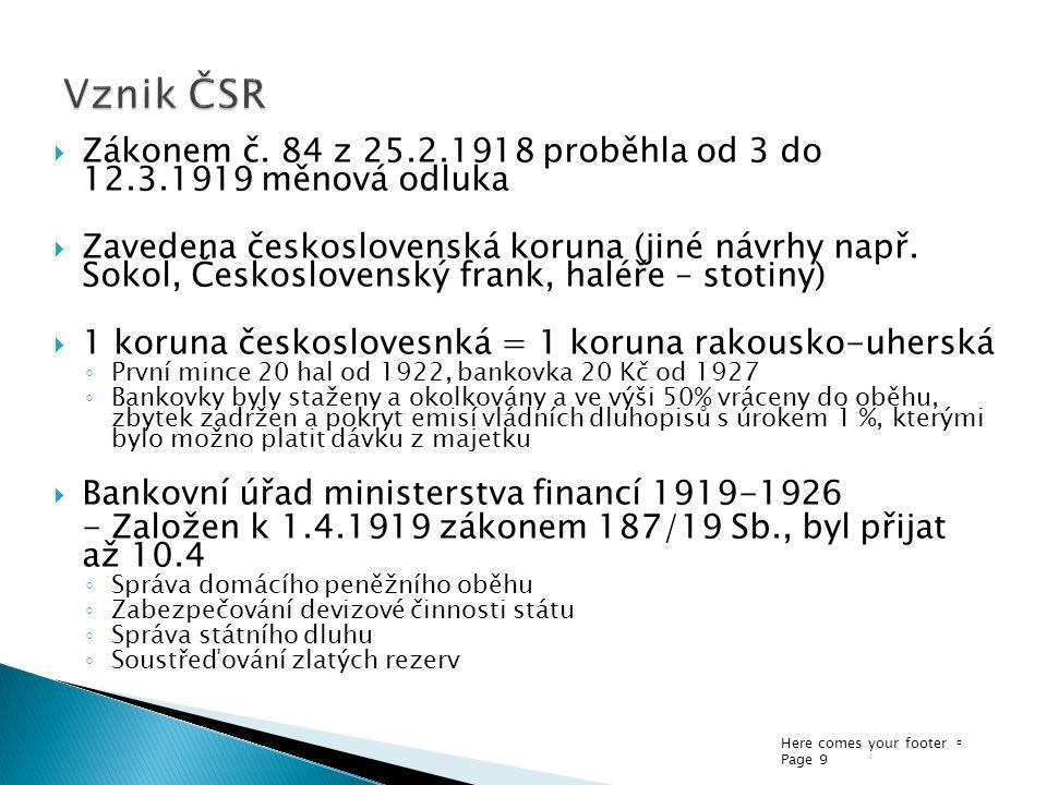 Here comes your footer  Page 9  Zákonem č. 84 z 25.2.1918 proběhla od 3 do 12.3.1919 měnová odluka  Zavedena československá koruna (jiné návrhy nap