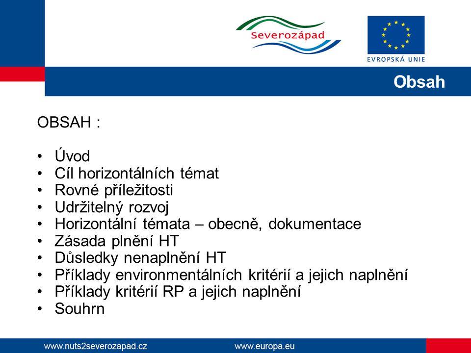 OBSAH : Úvod Cíl horizontálních témat Rovné příležitosti Udržitelný rozvoj Horizontální témata – obecně, dokumentace Zásada plnění HT Důsledky nenapln