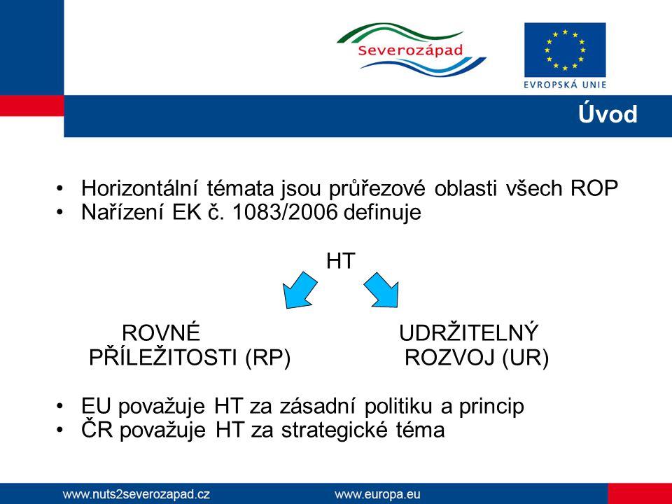 Horizontální témata jsou průřezové oblasti všech ROP Nařízení EK č. 1083/2006 definuje HT ROVNÉ UDRŽITELNÝ PŘÍLEŽITOSTI (RP) ROZVOJ (UR) EU považuje H