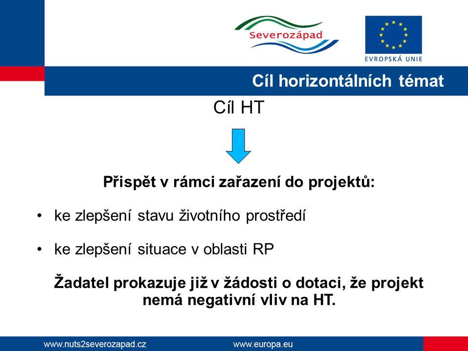 Cíl horizontálních témat Cíl HT Přispět v rámci zařazení do projektů: ke zlepšení stavu životního prostředí ke zlepšení situace v oblasti RP Žadatel p