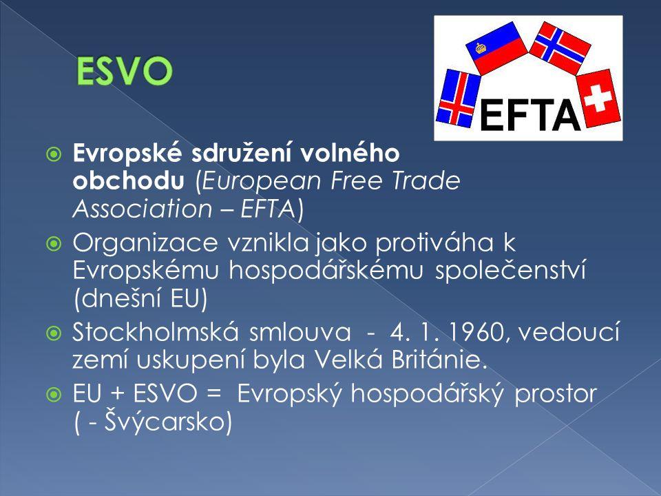  Evropské sdružení volného obchodu (European Free Trade Association – EFTA)  Organizace vznikla jako protiváha k Evropskému hospodářskému společenství (dnešní EU)  Stockholmská smlouva - 4.