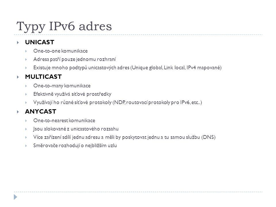 Typy IPv6 adres  UNICAST  One-to-one komunikace  Adresa patří pouze jednomu rozhraní  Existuje mnoho podtypů unicastových adres (Unique global, Li