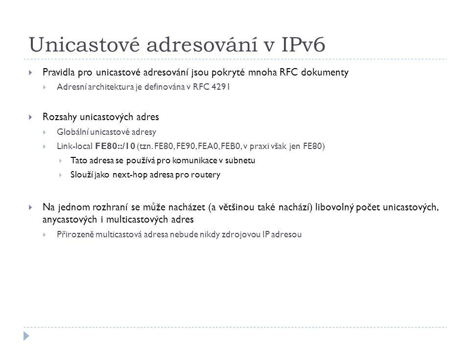 Unicastové adresování v IPv6  Pravidla pro unicastové adresování jsou pokryté mnoha RFC dokumenty  Adresní architektura je definována v RFC 4291  R
