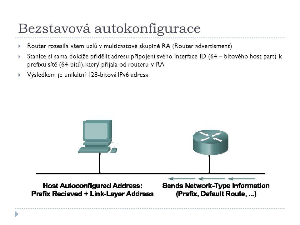 Bezstavová autokonfigurace  Router rozesílá všem uzlů v multicastové skupině RA (Router advertisment)  Stanice si sama dokáže přidělit adresu připoj