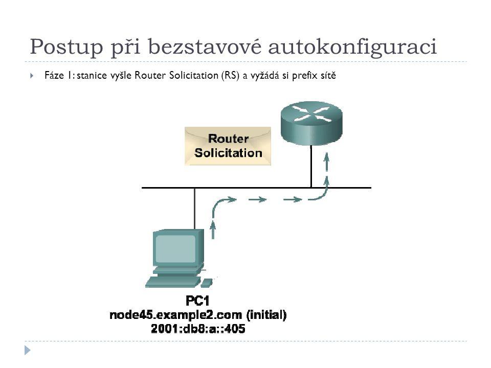 Postup při bezstavové autokonfiguraci  Fáze 1: stanice vyšle Router Solicitation (RS) a vyžádá si prefix sítě