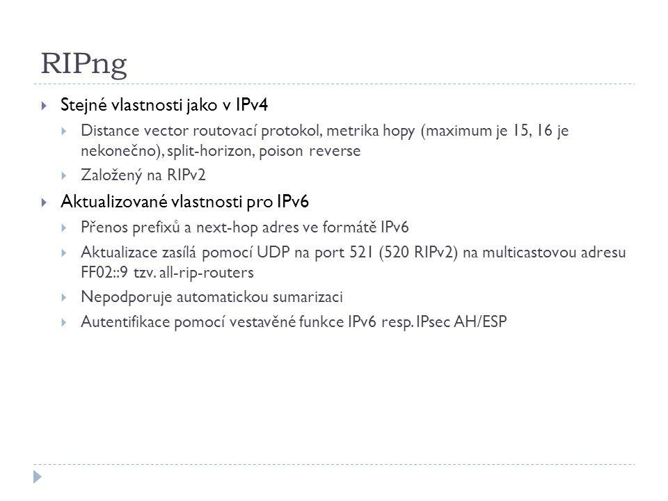 RIPng  Stejné vlastnosti jako v IPv4  Distance vector routovací protokol, metrika hopy (maximum je 15, 16 je nekonečno), split-horizon, poison rever