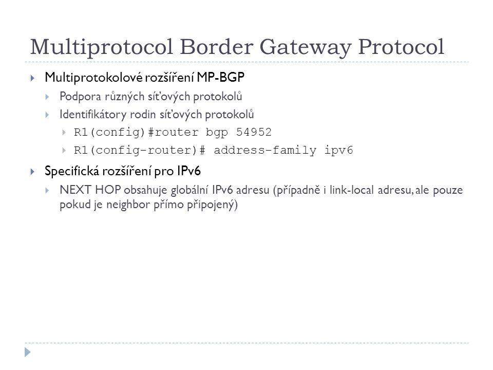 Multiprotocol Border Gateway Protocol  Multiprotokolové rozšíření MP-BGP  Podpora různých síťových protokolů  Identifikátory rodin síťových protoko
