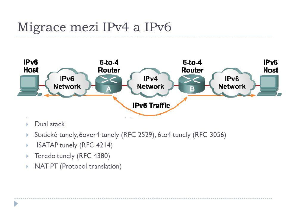 Migrace mezi IPv4 a IPv6  Pro migraci mezi IPv4 a IPv6 je definováno několik různých mechanismů, proto není nutné učinit skokový přechod  Dual stack