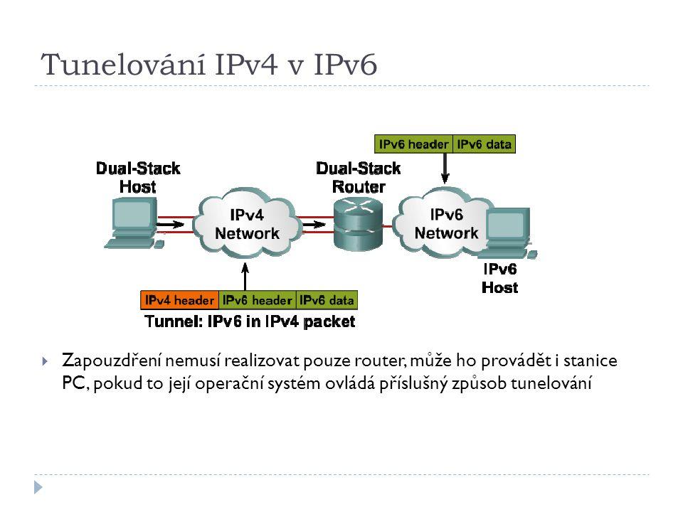 Tunelování IPv4 v IPv6  Zapouzdření nemusí realizovat pouze router, může ho provádět i stanice PC, pokud to její operační systém ovládá příslušný způ