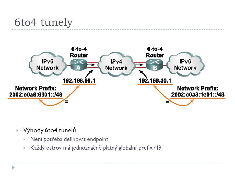 6to4 tunely  Výhody 6to4 tunelů  Není potřeba definovat endpoint  Každý ostrov má jednoznačně platný globální prefix /48