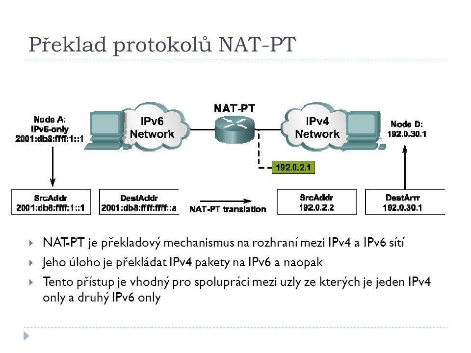 Překlad protokolů NAT-PT  NAT-PT je překladový mechanismus na rozhraní mezi IPv4 a IPv6 sítí  Jeho úloho je překládat IPv4 pakety na IPv6 a naopak 