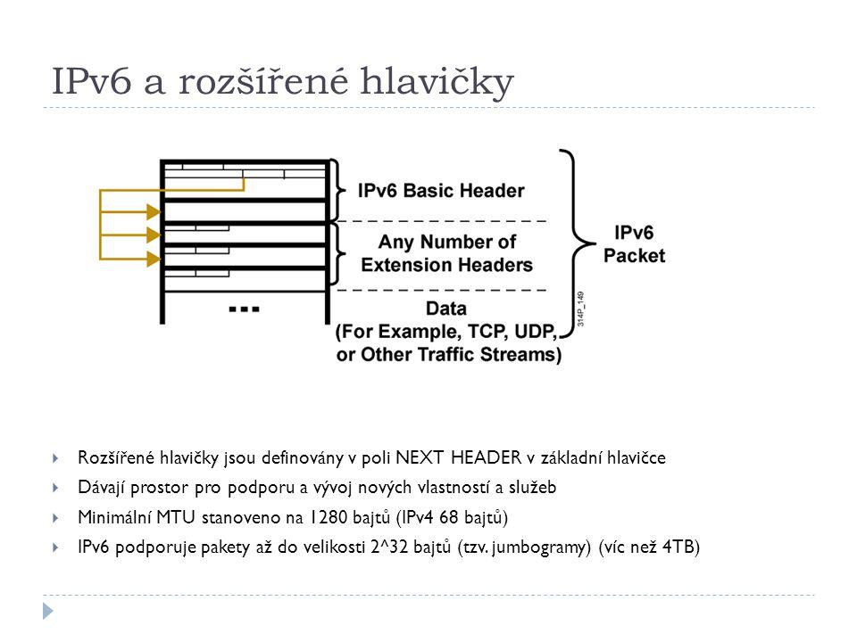 IPv6 a rozšířené hlavičky  Rozšířené hlavičky jsou definovány v poli NEXT HEADER v základní hlavičce  Dávají prostor pro podporu a vývoj nových vlas