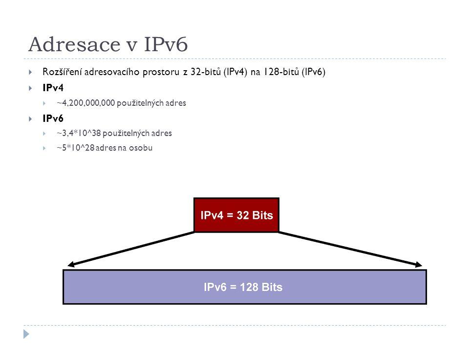 Adresace v IPv6  Rozšíření adresovacího prostoru z 32-bitů (IPv4) na 128-bitů (IPv6)  IPv4  ~4,200,000,000 použitelných adres  IPv6  ~3,4*10^38 p