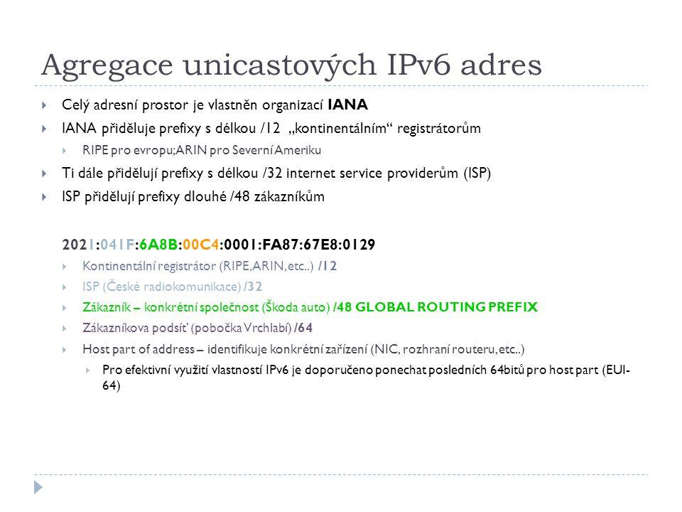 RIPng  Stejné vlastnosti jako v IPv4  Distance vector routovací protokol, metrika hopy (maximum je 15, 16 je nekonečno), split-horizon, poison reverse  Založený na RIPv2  Aktualizované vlastnosti pro IPv6  Přenos prefixů a next-hop adres ve formátě IPv6  Aktualizace zasílá pomocí UDP na port 521 (520 RIPv2) na multicastovou adresu FF02::9 tzv.