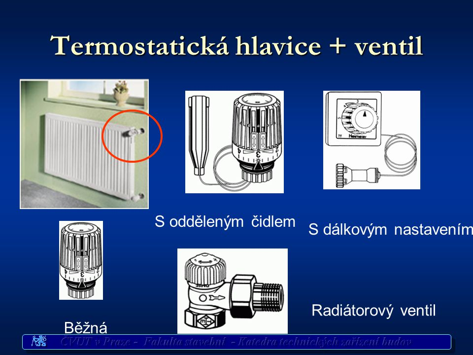 Termostatická hlavice + ventil Běžná S dálkovým nastavením S odděleným čidlem Radiátorový ventil