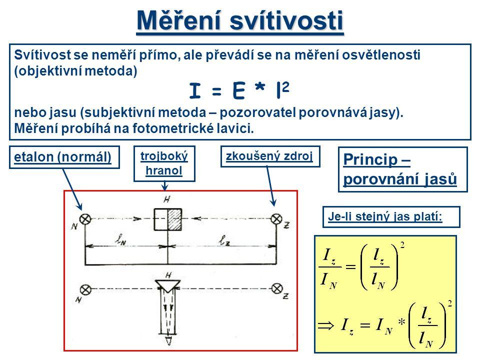Měření svítivosti Svítivost se neměří přímo, ale převádí se na měření osvětlenosti (objektivní metoda) I = E * l 2 nebo jasu (subjektivní metoda – poz