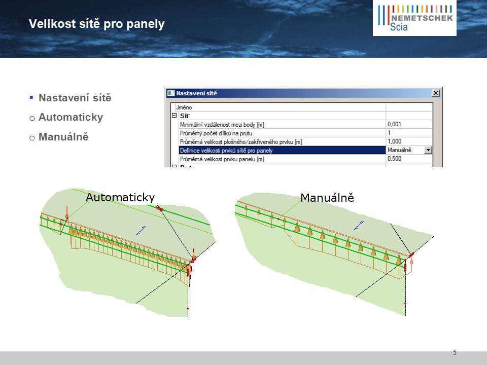 Velikost sítě pro panely  Nastavení sítě o Automaticky o Manuálně 5