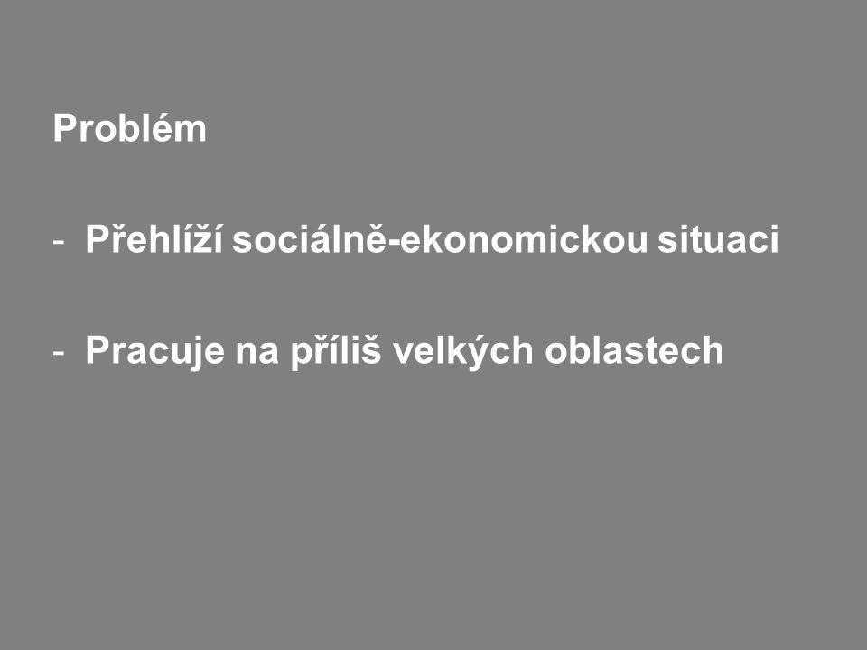 Problém -Přehlíží sociálně-ekonomickou situaci -Pracuje na příliš velkých oblastech