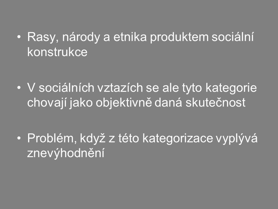 Rasy, národy a etnika produktem sociální konstrukce V sociálních vztazích se ale tyto kategorie chovají jako objektivně daná skutečnost Problém, když