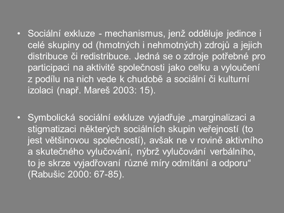 Sociální exkluze - mechanismus, jenž odděluje jedince i celé skupiny od (hmotných i nehmotných) zdrojů a jejich distribuce či redistribuce. Jedná se o