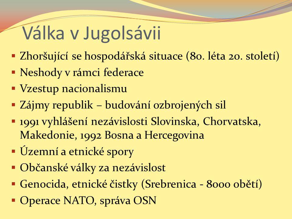 Slovinsko  Julské Alpy (Triglav)  Výhodná geografická poloha blízko Střední Evropy  Tranzitní země  Nezávislost bez problémů (74 obětí)  Etnicky jednotné  Napojení na sousedy (Itálie, Rakousko)  Rozvoj hospodářství (nejvyšší HDP)  NATO, EU  Měna: Euro