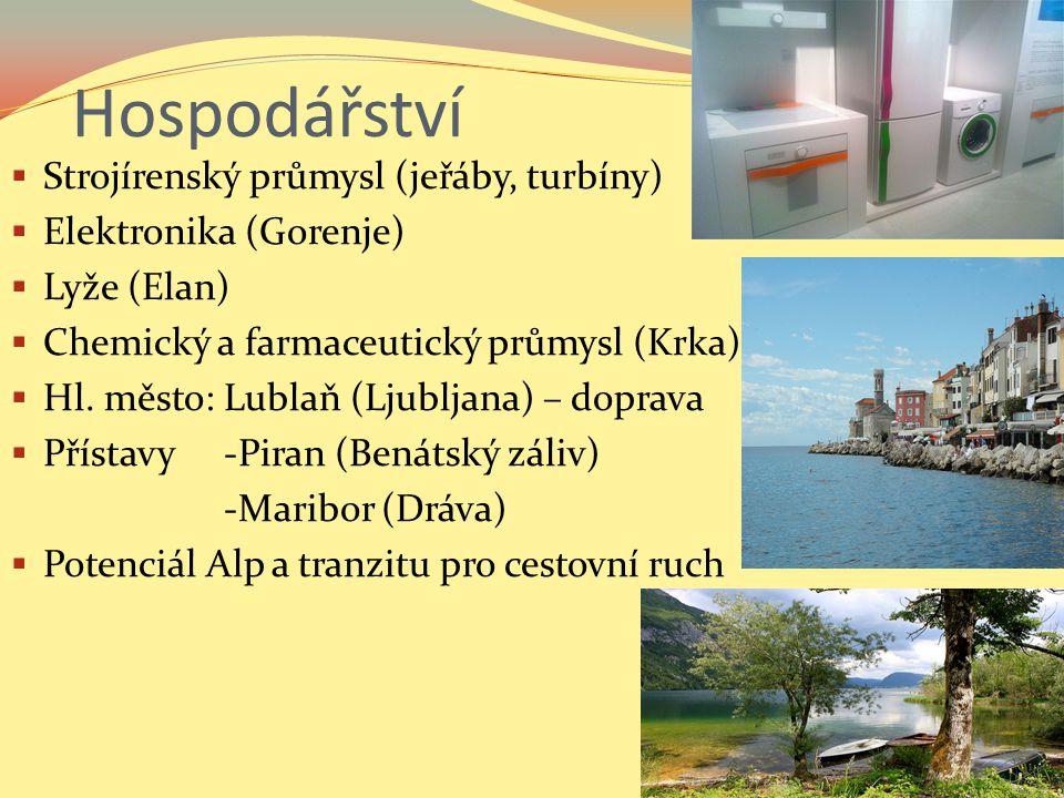 Hospodářství  Strojírenský průmysl (jeřáby, turbíny)  Elektronika (Gorenje)  Lyže (Elan)  Chemický a farmaceutický průmysl (Krka)  Hl.