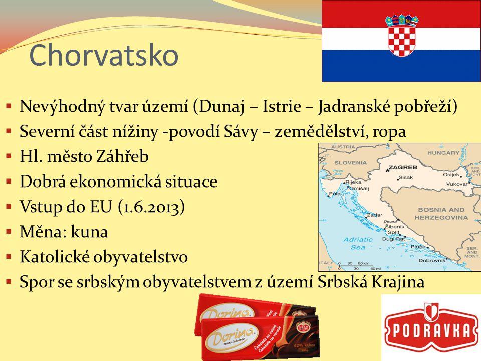 Chorvatsko  Nevýhodný tvar území (Dunaj – Istrie – Jadranské pobřeží)  Severní část nížiny -povodí Sávy – zemědělství, ropa  Hl.