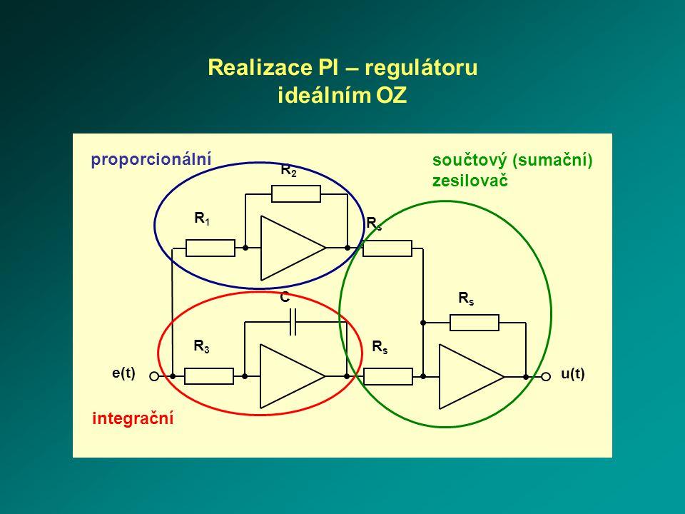 R3R3 e(t) C R1R1 R2R2 RsRs RsRs u(t) RsRs Realizace PI – regulátoru ideálním OZ proporcionální integrační součtový (sumační) zesilovač