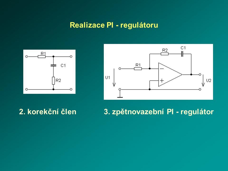Realizace PI - regulátoru 2. korekční člen3. zpětnovazební PI - regulátor