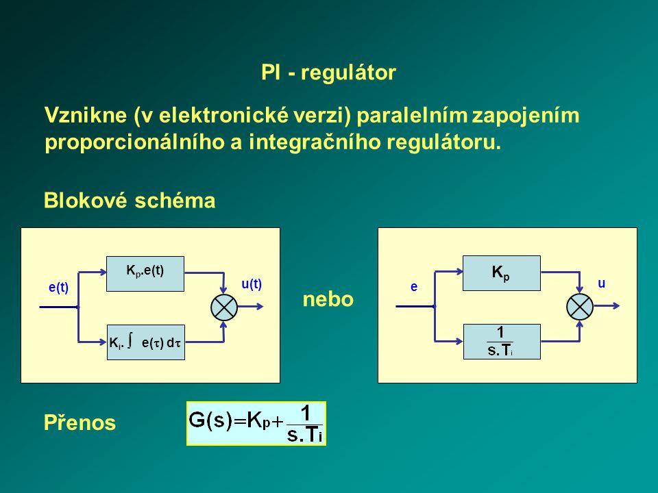 K i.  e(  ) d  e(t) u(t) K p.e(t) e u KpKp PI - regulátor Vznikne (v elektronické verzi) paralelním zapojením proporcionálního a integračního regu