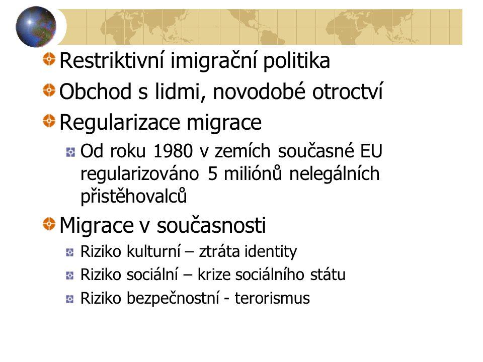 Restriktivní imigrační politika Obchod s lidmi, novodobé otroctví Regularizace migrace Od roku 1980 v zemích současné EU regularizováno 5 miliónů nelegálních přistěhovalců Migrace v současnosti Riziko kulturní – ztráta identity Riziko sociální – krize sociálního státu Riziko bezpečnostní - terorismus