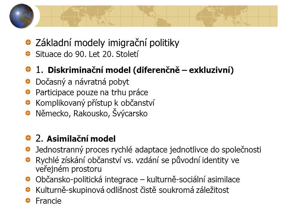 Základní modely imigrační politiky Situace do 90. Let 20. Století 1. Diskriminační model (diferenčně – exkluzivní) Dočasný a návratná pobyt Participac